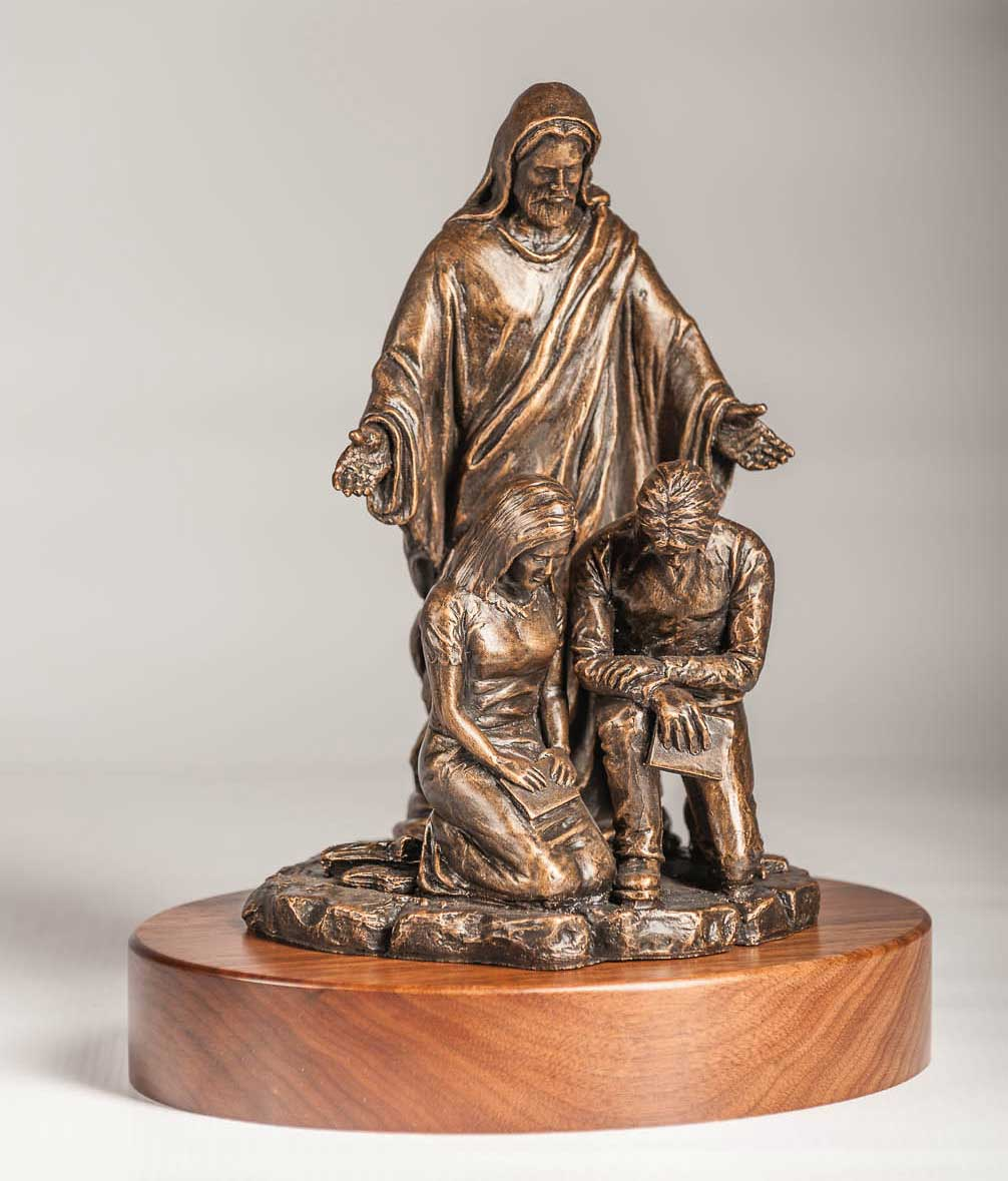With You Always, Jesus standing behind couple sculpture